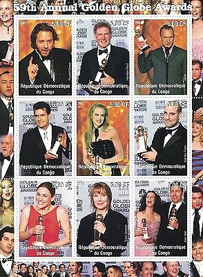 59th ANNUAL GOLDEN GLOBES RUSSELL CROWE HARRISON FORD STING MNH STAMP SHEETLET
