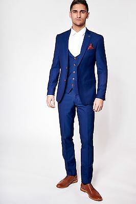 Mens Marc Darcy Designer Navy Blue Tailored Three Piece Business Suit