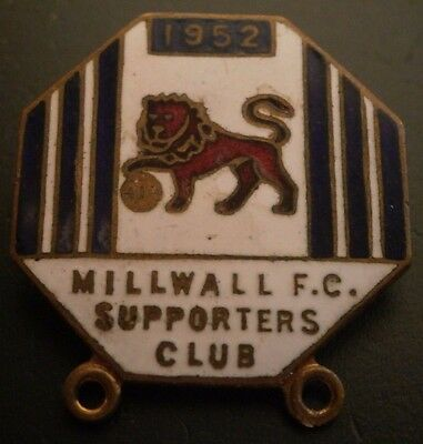 Millwall Fc Supporters Club 1952 Football Brooch Pin Badge
