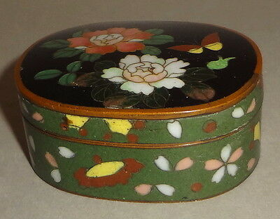 Antique CHINESE CLOISONNE patch TRINKET snuff BOX w/ BUTTERFLY & FLORAL - BRONZE