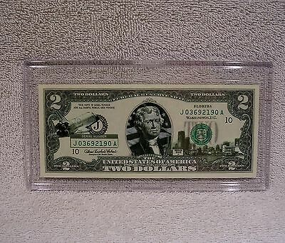 Florida  $2 Two Dollar Bill - Colorized State Landmark - Uncirculated Authentic