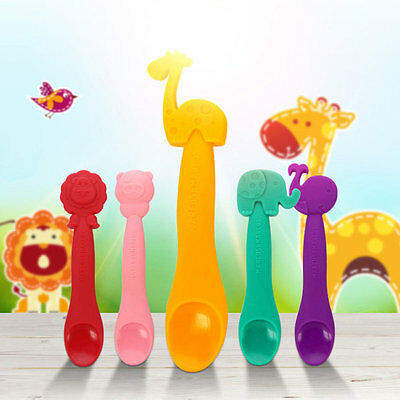 Infant Baby Feeding Food Supplement Silicone Spoon Soft Spoon Great Gifts L#