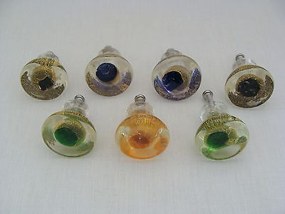 Set Of 7 Murano Style Gold Fleck Art Glass Drawer Pulls 4 Blue 2 Green 1 Yellow