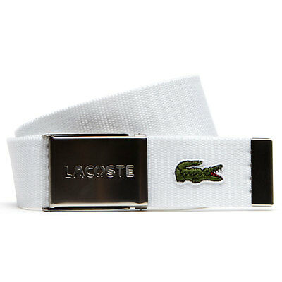Lacoste 2017 Mens RC0012 40mm Gift Box Woven Adjustable Belt - White - One Size