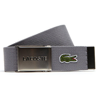 Lacoste 2017 Mens RC0012 40mm Gift Box Woven Adjustable Belt - Platinum