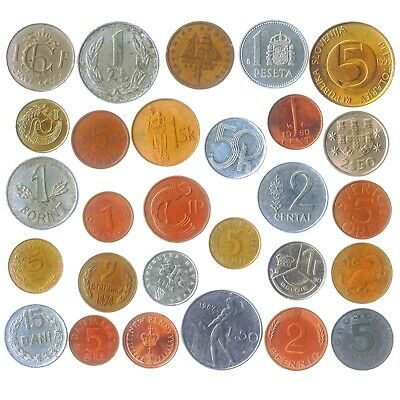 Lot of 28 Different Coins from Each European Union Country (Pre-Euro Collection)