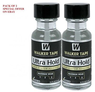 Walker Tape Ultra hold adhesive for lace wigs & toupees .5oz with brush 2 Pack
