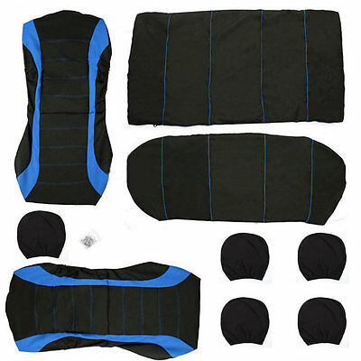 9 pcs Full Seat Cover Set Car Seat Cover Low Front Back Set Black + Blue Edge ZX