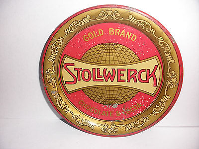 Gold Brand Stollwerck chocolate & cocoa advertising antique co metal  tip tray