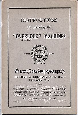 "Original Willcox and Gibbs ""Overlock"" Sewing Machine Instruction Manual"