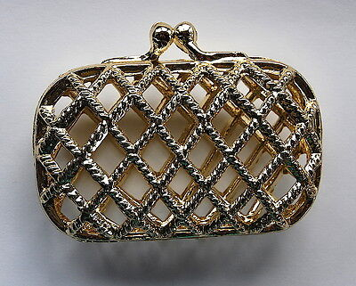 VINTAGE CAGE PURSE LITTLE SMALL TINY GOLD WOVEN METAL CLUTCH LIPSTICK, etc...