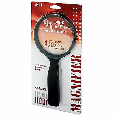 """Carson 2x HandHeld Compact Magnifier with 3.5x Spot Lens 4.3"""" Lens"""