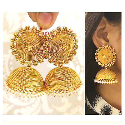 Indian Ethnic Bollywood Polki Gold Tone Jhumka Jhumki Partywear Earring jewelry