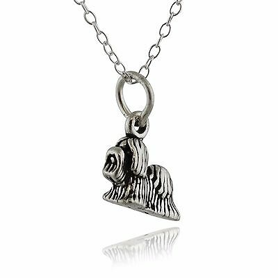 Tiny Shih Tzu Dog Necklace - 925 Sterling Silver - 3D Charm Dogs Pets Gift NEW