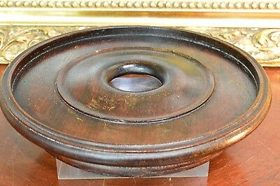 Antique Vintage Wooden Clock Glass Dome Base Display Stand Plinth Chinese