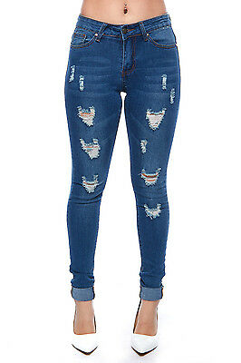 Womens Denim Stretch Jeans Skinny Ripped Distressed Pants DP5477