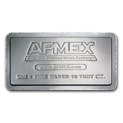 "10 Troy oz. APMEX .999 Silver Bar - ""Stacker"" Manufacture By MATERION"