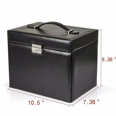 Black Leather Jewelry Box With Portable Travel Case And Lock