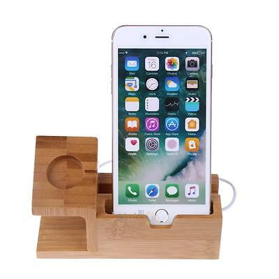 Wood Bamboo Charging Dock Charger Holder Station for Apple Watch iPhone 7/7plus