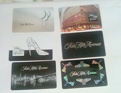 Saks Fifth Avenue Special 6-card set  Gift Cards Collectible Mint