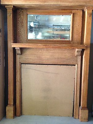Antique Fireplace Surround And Mantle: Oak  & Beveled Mirror - From Philly Area