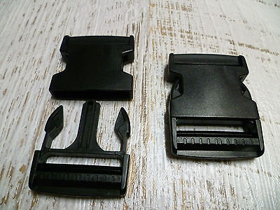 Quick Side Release Buckle Clips - 50mm - Black Plastic - 2 Backpack Bag Clips