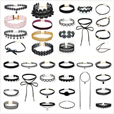 10 Pieces Black Classic Velvet Stretch Gothic Tattoo Choker Collar Necklace Gift