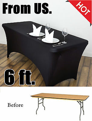 Tablecloth Stretch Fitted Rectangular 6 ft Table Cover Black Banquet Spandex NEW