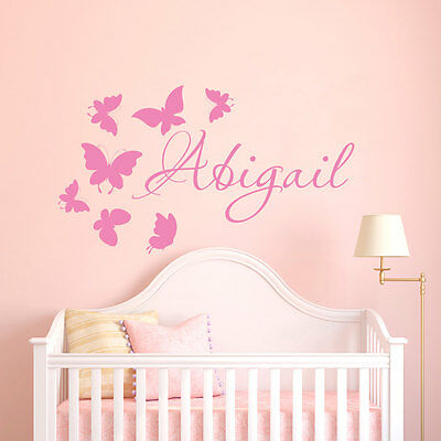 Wall Stickers custom colour baby name butterfly vinyl decal decor Nursery kids