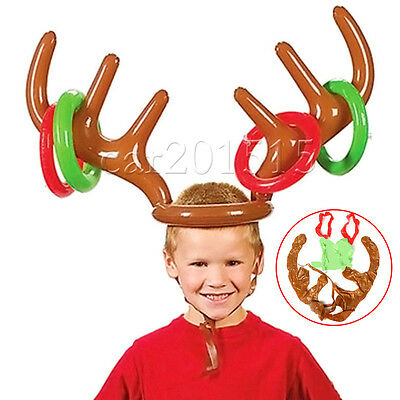 INFLATABLE REINDEER HAT Antler Ring Christmas Holiday Party Toys Child Kids Gift