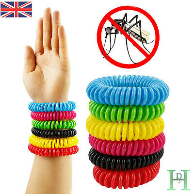 6pc Mosquito Repellent Bracelets Natural Deet Free Waterproof Spiral Wrist Bands