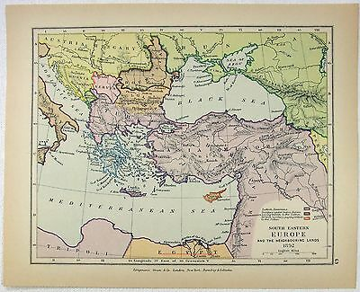 Vintage Longmans Map of Southeastern Europe and Asia Minor in 1892