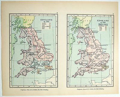 Vintage Longmans Map of England in the Years 584 and 626 AD