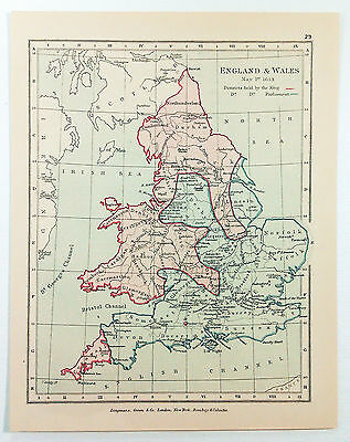 Vintage Map of England & Wales on May 1, 1643 by Longmans Green 1914