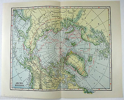 Original 1922 Map of The Arctic Regions by L. L. Poates