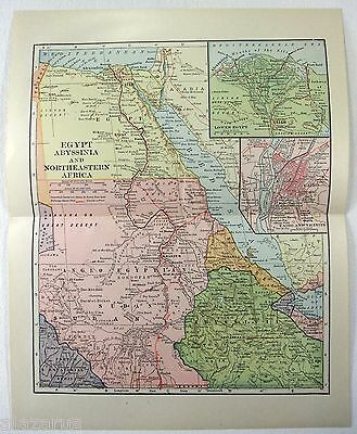 Original 1922 Map of Egypt, Abyssinia & Northeastern Africa by L. L. Poates