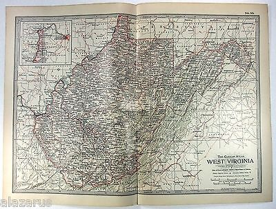 Original 1902 Map of West Virginia - A Finely Detailed Color Lithograph