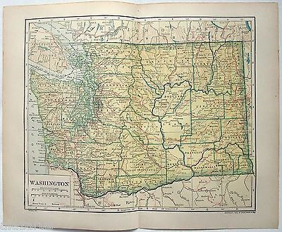 Original 1911 Map of Washington State by L. L. Poates