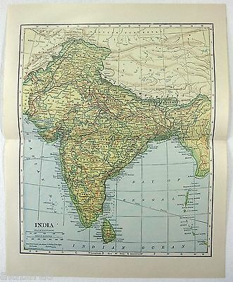 Original 1922 Map of India by L. L. Poates