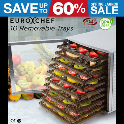 10 Removable Tray Food Dehydrator - Beef Jerky Commercial Dryer Fruit Preserve