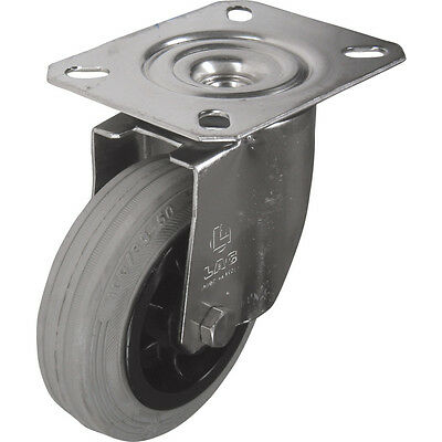 Atlas Workholders Ss Swivel Plate 125Mm Grey Rubber Tyre