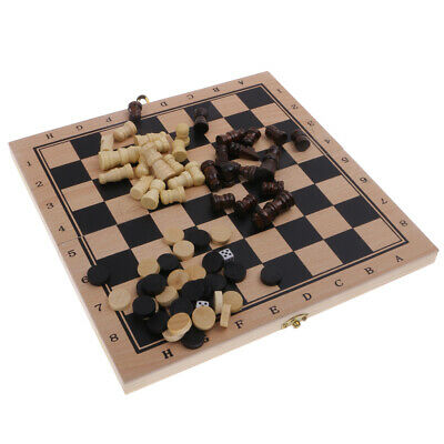 3 in 1 Wooden Board Game Set Travel Games Chess Backgammon Draughts S