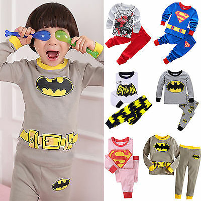 2PCS Cartoon Baby Kids Boys Girls Nightwear Sleepwear Toddler Pj's Pajamas Set