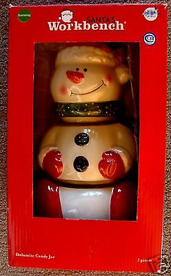 Dolomite Ceramic Christmas Snowman Candy & Cookies Jar, 3 Pieces, 10 Inches