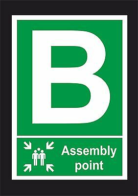 Assembly Point B Sign or Sticker, All Sizes. Fire / Emergency / Evacutation Sign