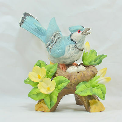 VTG Beautiful Blue Jay Porcelain Figurine w/ Flowers and Eggs in Nest by LaVie