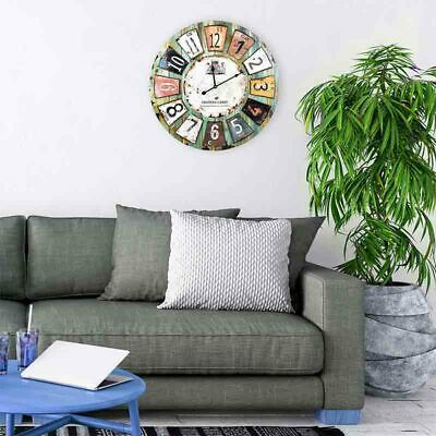 """Wooden Wall Clock Antique Style """"Chateau"""" 60cm Diameter (24inches)Stylish NEW"""