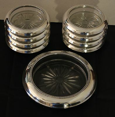 Frank Whiting Sterling Silver/Glass Coaster Set; 1 Wine 8 Individual; Beaded Rim