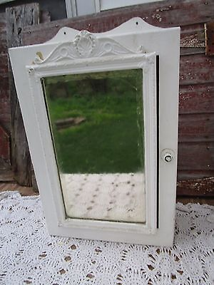 Vintage Wood Surface Mount Medicine Cabinet Mirror Shabby White Paint Ornate