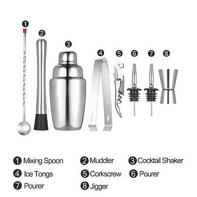 8x 350ml Cocktail Shaker Mixer Kit Bartender Jigger&Tongs &Spoon Pourers D2P2